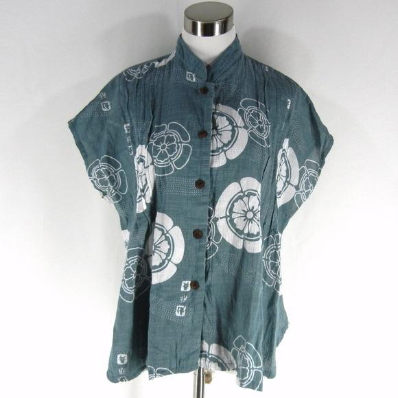 2f34cb71d74503 YASUKO Cotton Textured Loose Fit Shirt Top M L Blu.  M_5a53d1bdf9e5019edb01a34b